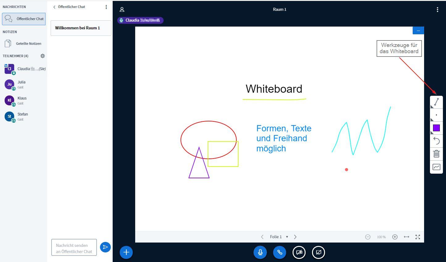 Whiteboard zum Schreiben, Malen, Zeichnen, auch für alle Teilnehmer