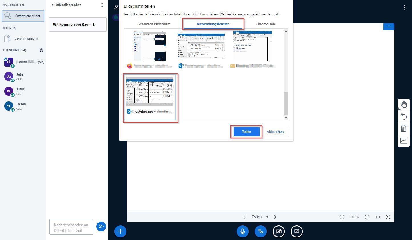 So gehts! Bildschirm teilen: : Ganzer Bildschirm oder nur bestimmte Anwendungsfenster können geteilt werden