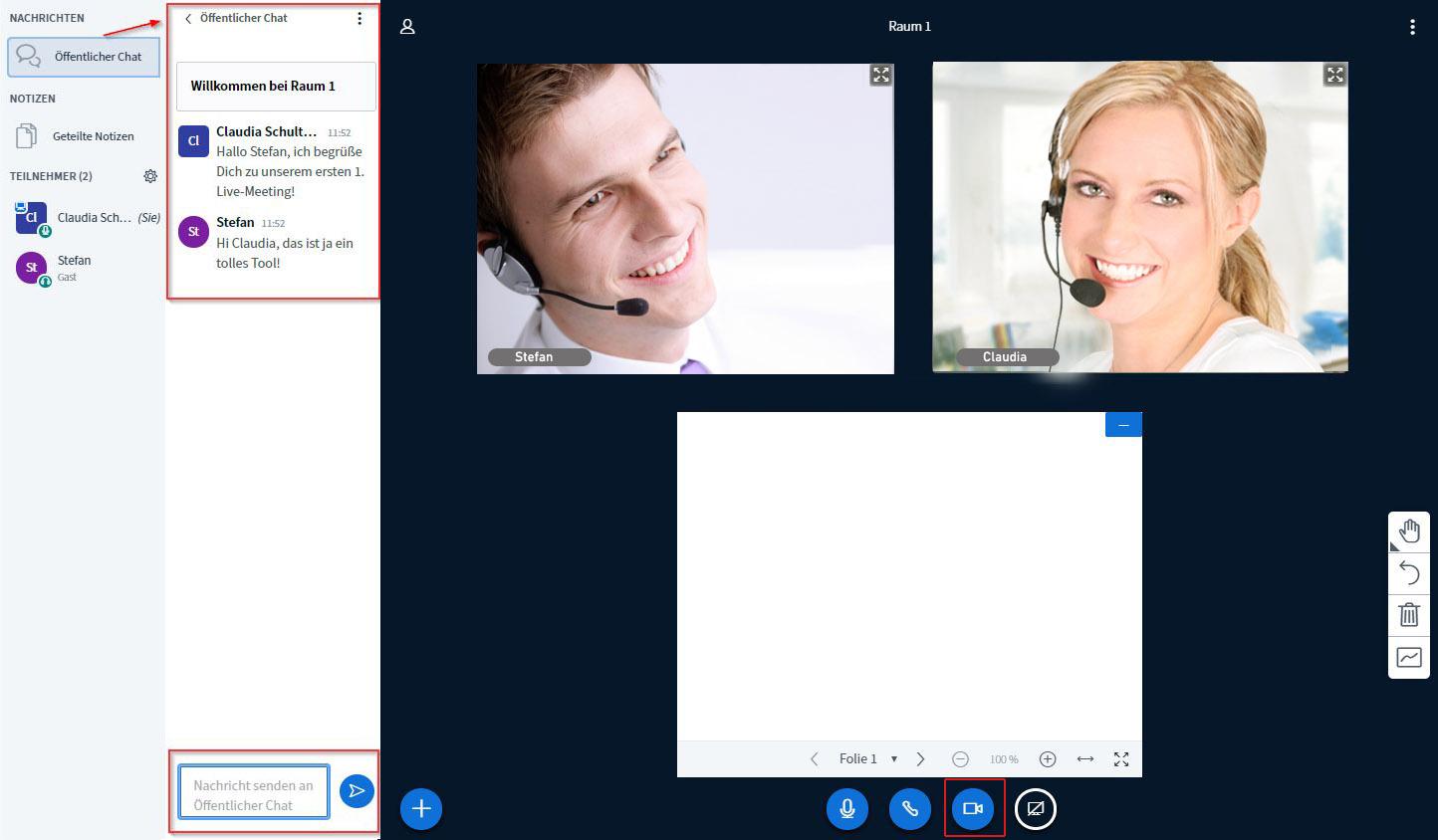Videokonferenz & Chatfunktion mit öffentlichem und privatem Chat