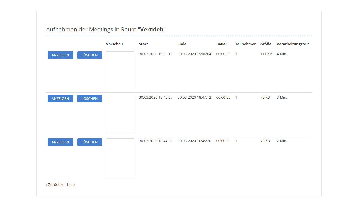 Aufnahmen pro Meeting-Raum verwalten